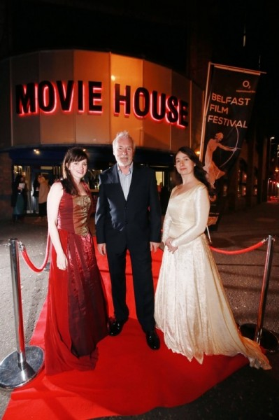 Ser Barristan Selmy also known as Ulster actor Ian McElhinney on the red carpet with damsels Ali Campeau (left) and Debbie McCormack for the exclusive preview of Game of Thrones series 4 episode1 at the Moviehouse, Dublin Road, Belfast, as part of the 14th Belfast Film Festival.   Picture by Brian Morrison.