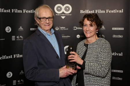 Ken Loach and Louise O'Meara with the Realta award